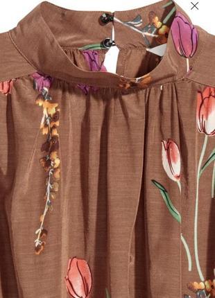 Женственная блуза с объёмными рукавами принт цветочный5 фото