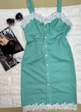 Летнее платье сарафан с кружевом цвета тиффани1 фото