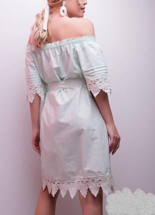 Красивое летнее мятное платье с открытыми плечами, р.м2 фото