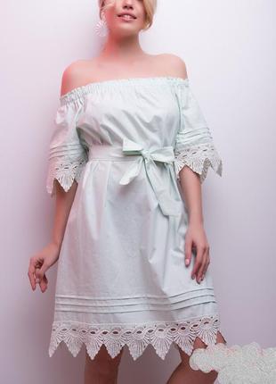 Красивое летнее мятное платье с открытыми плечами, р.м