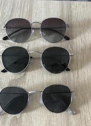 Классические круглые очки черные с серебром