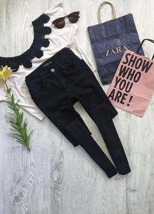 Черные джинсы скини c высокой посадкой3 фото