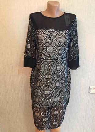 Шикарнейшее вечернее платье кружево бирка вoohoo р. 12 британский
