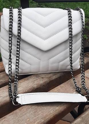 Сумка белая біла кожаная италия стеганая кросс боди
