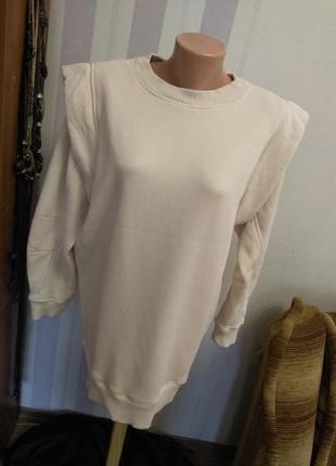 Удлиненный свитшот платье туничка свитер беж