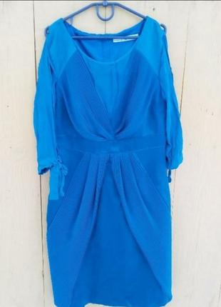 💯шелковое платье оригинал плиссе изумруд karen millen6 фото