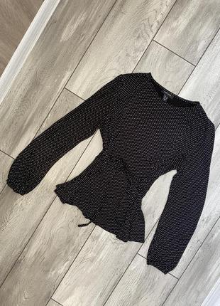 Кофточка топ блуза в горошек вискоза