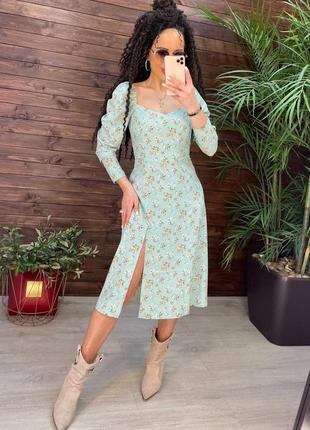 Платье миди в цветок с разрезом сбоку 5 цветов2 фото