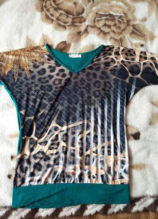 Новая футболка с рукавом до локтя, сияющие камни