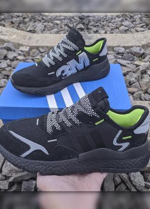 Adidas 3m nite jogger 41-46 черные кросівки кроссовки мужские чорні наложка