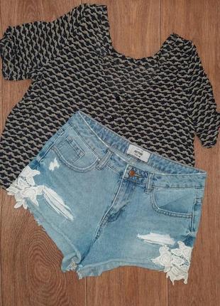 Женские джинсовые шорты короткие с кружевом new look