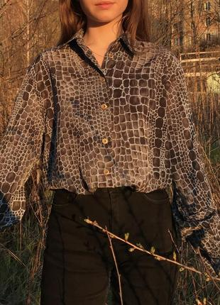 Винтажная рубашка блуза basler вінтаж вінтажна анімалістична5 фото