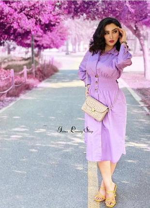 Лавандовое платье zara в рубашечном стиле  s-m