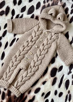 Детский комбинезон ручной работы, размер 0-4 месяца