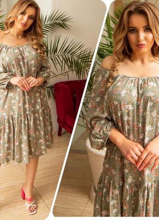Женское платье 👗 штапель. 11 разных оттенков. 46-56размеры.4 фото