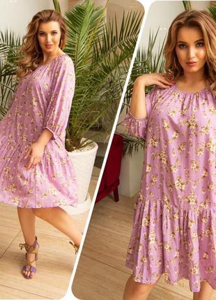 Женское платье 👗 штапель. 11 разных оттенков. 46-56размеры.8 фото