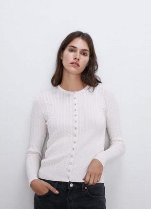 Кардиган - свитер на пуговицах в стразах от zara