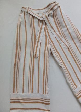 Цены горят 💥льняные брюки кюлоты в полоску, высокая посадка талии