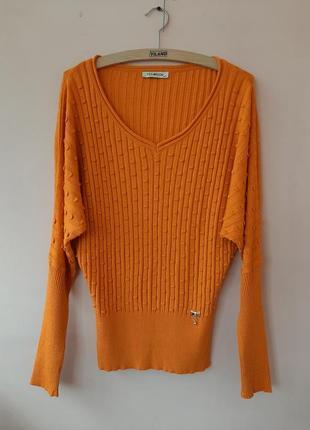 Оранжевый мягкая женская кофточка кофта фасон летучая мышь реглан джемпер