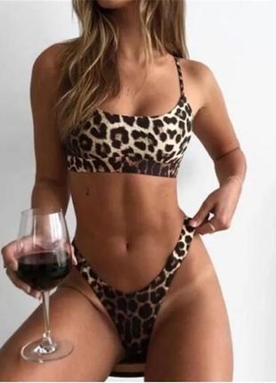 Трендовый сексуальный раздельный купальник леопардовый с топом3 фото