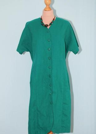 Винтаж  лен  платье- халат халатом на пуговицах в винтажном стиле винтаж