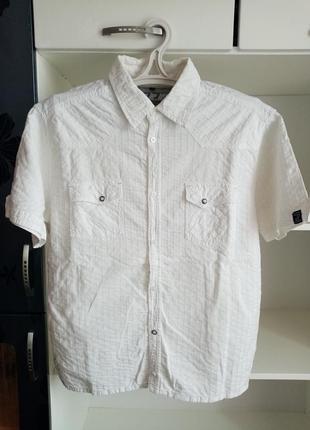 Белая мужская рубашка с коротким рукавом чоловіча сорочка