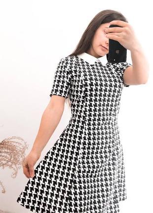 Платье в гусиную лапку стильное школьное классика