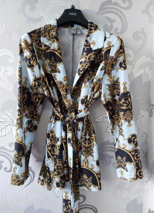 Голубой двубортный пиджак жакет блейзер кардиган с поясом asos