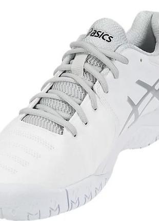 Кроссовки теннисные asics gel resolution 7 белые с серым silver white7 фото