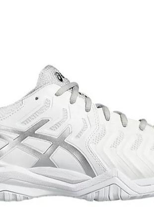 Кроссовки теннисные asics gel resolution 7 белые с серым silver white2 фото