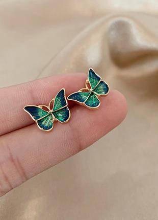Нежные серьги бабочки гвоздик серебро 925 проба / большая распродажа!
