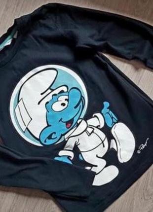 Лонгслив футболка с длинным рукавом смурфик h&m