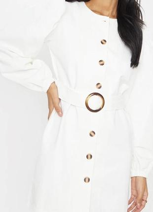 Джинсовое платье белое деним с поясом