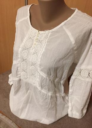 Обалденная ,коттоновая блуза с вышивкой