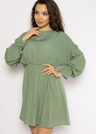 Однотонное платье с длинными рукавами 632f004-3 оливковый (6 цветов)