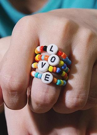 Набор колец 4шт яркие кольца в этно стиле бохо