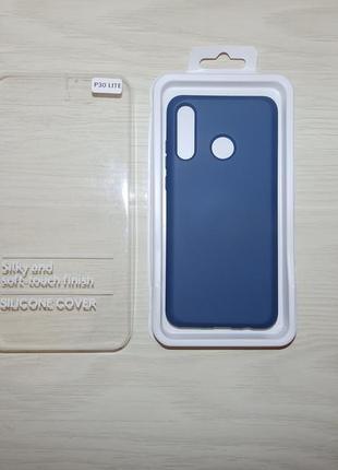 Чехол silicone cover  с микрофиброй для huawei p30 lite