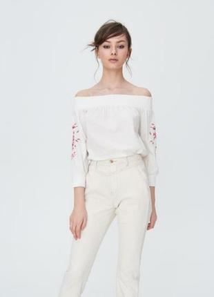 Sinsay шикарная хлопковая блуза с открытыми плечами