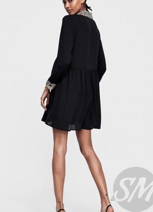 Zara платье рубашка на пуговицах чёрное воротник в змеиный бежевый принт3 фото