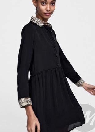 Zara платье рубашка на пуговицах чёрное воротник в змеиный бежевый принт