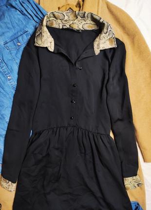 Zara платье рубашка на пуговицах чёрное воротник в змеиный бежевый принт6 фото
