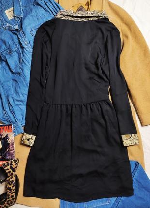 Zara платье рубашка на пуговицах чёрное воротник в змеиный бежевый принт7 фото