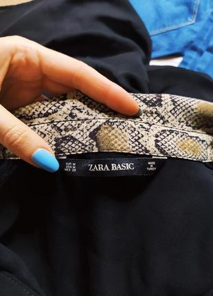 Zara платье рубашка на пуговицах чёрное воротник в змеиный бежевый принт9 фото