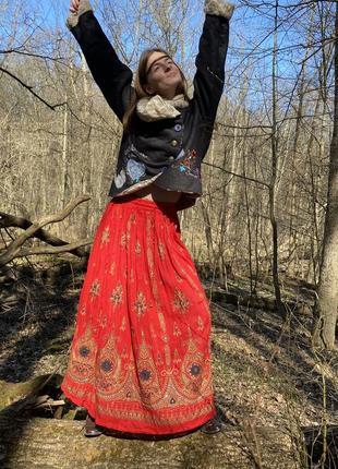 Винтажная юбка макси этно-стиль индия 100% хлопок вышивка хендмейд