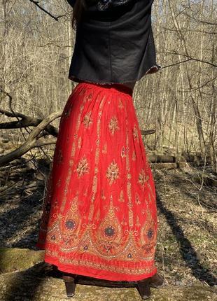 Винтажная юбка макси этно-стиль индия 100% хлопок вышивка хендмейд4 фото