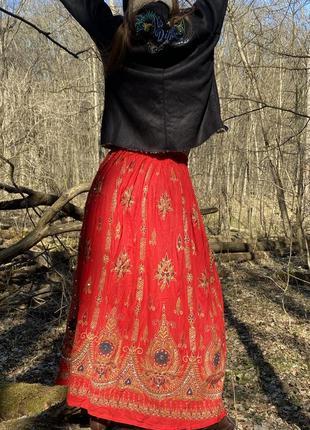 Винтажная юбка макси этно-стиль индия 100% хлопок вышивка хендмейд2 фото