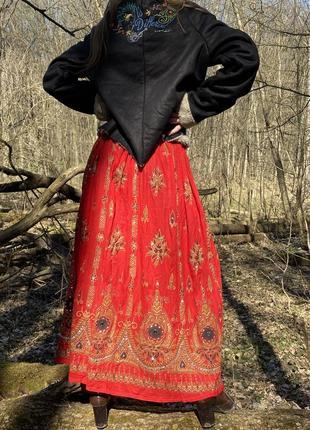Винтажная юбка макси этно-стиль индия 100% хлопок вышивка хендмейд3 фото
