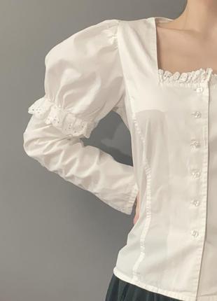 Винтажная блуза германия викторианский стиль фотосессия кружево  рукава-фонарики