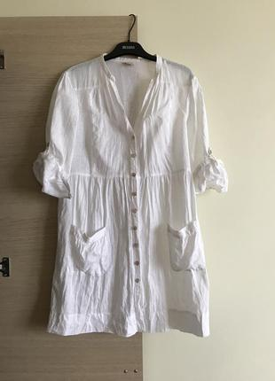 Рубашка туника блуза платье лён
