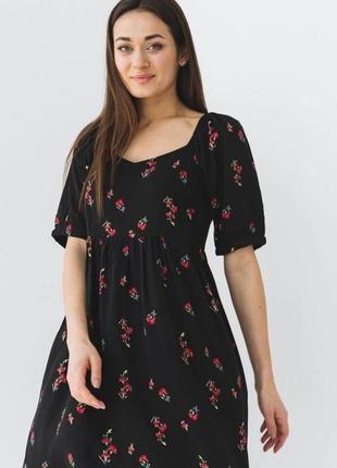 Легкое платье свободного кроя в цветочек наложенный платеж